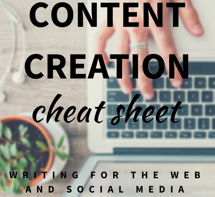 content creation cheat sheet